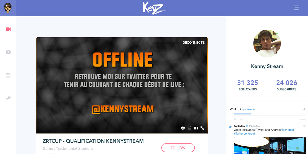 Kenny, page d'accueil